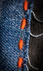 Cloth/Textile (adityauppoor) Tags: macromondays macro clothtextile cloth fabric denim stitch orange nikon indoor thread blue