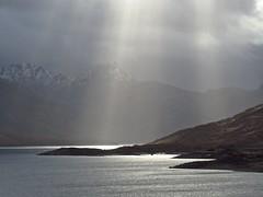 8643 Mountains, loch and sunbeams (Andy - Busyyyyyyyyy) Tags: 20170319 ccc clouds glenquoich lll lochcuiach lochquoich mist misty mmm mountains murk murky qqq reservoir rrr scotland snow sss sunbeams water www