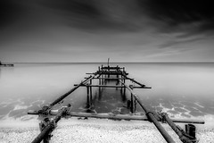 Decay (mcalma68) Tags: monochrome black white decay long exposure jetty lake ijsselmeer netherlands landscape waterfront sand beach clouds