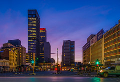 Ghandi Square, Johannesburg (Paul Saad) Tags: night johannesburg lights sunset sunrise dusk dawn nikon city capital sun house clouds cloud sky outdoor ghandisquare ghandi longexposure africa southafrica street hankyc