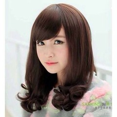 วิกผมยาวประบ่า แบบสาวเกาหลีหน้าม้าปลายดัดลอนธรรมชาติสไตล์บ๊อบ นำเข้า สีดำ พร้อมส่งW025 ราคา730บาท  โทรสั่งของกับ พี่โน๊ต/พี่เจี๊ยบ : 083-1797221, 086-3320788, 02-9394933 | LINE User ID : lotusnoss และ lotusnoss.com #วิกผม #วิกแฟชั่นเกาหลี #วิกผมบ๊อบ