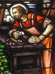 Detail of Joseph the Carpenter in the Harriet Mary Ellis Memorial Stained Glass Window of the Holy Family; St Jude's Church of England - Corner of Lygon, Palmerston and Keppel Streets, Carlton (raaen99) Tags: building 1948 window glass architecture joseph religious memorial carlton mary religion jesus gothic 19thcentury australia melbourne stainedglass victoria 1940s bible 1860s virginmary 20thcentury stainedglasswindow biblical holyfamily anglicanchurch lygonstreet nineteenthcentury lygonst gothicarchitecture placeofworship gothicchurch 1866 churchofengland gothicbuilding 1867 stjudes gothicstyle keppelstreet keppelst twentiethcentury melbournearchitecture gothicrevivalarchitecture religiousbuilding gothicrevivalstyle melbournesuburbs stjudesanglicanchurch palmerstonst gothicstainedglass gothicstainedglasswindow gothicrevivalbuilding inmemorandum reedbarnes architecturallydesigned gothicrevivalchurch reedandbarnes gothicdetail stjudescarlton stjudeschurchofengland harrietmaryellis harrietmaryellismemorialwindow carltonchurchofengland carltonanglicanchurch