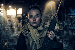 Survivor (Battle Born Photography) Tags: studio model rifle doomsday ar15 carbine shemagh platecarrier prepper hatchreno