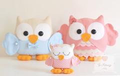 Família Coruja ♥ (Jo Matarazzo Ateliê) Tags: craft felt feltro decoração corujas corujafeltro corujaazul corujarosa aniversáriofeltro familiacorujafeltro