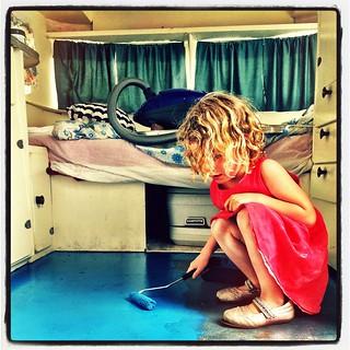 365/281 • late this afternoon DB helped me put the first coat of paint on the caravan floor • #2014_ig_281 #4yo #caravan #sunliner #vintagecaravan #floor #blue #painting