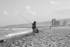 morning fishing (Alvaro Vega) Tags: chile morning man maana beach fishing fisherman october playa octubre pesca hombre pescador arica 2014 chinchorro