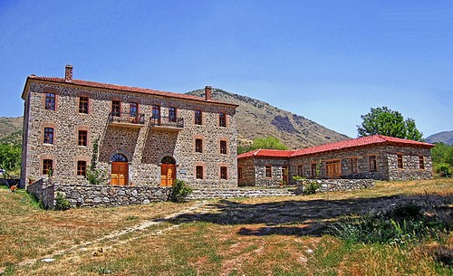 Greece, Macedonia, Florina region, S Germanos village, restored traditional macedonian stone houses