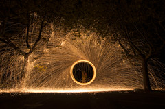 Fire and tree (Mathieu Calvet) Tags: lightpainting france night fire pentax steel nuit 34 1224 k5 languedocroussillon hrault whool poselongue limaille bdarieux da1224 pailledefer steelwhool