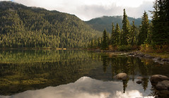 Morning at Callaghan Lake (P.A.B.) Tags: morning trees lake canada green water rock whistler britishcolumbia clear explore emerald coastmountains sidelight explored callaghanvalley pacificranges callaghanlake callaghanlakeprovincialpark nikond800e nikonnikkor2470mmf28afsged