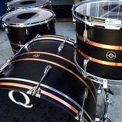 Black satin mahogany with brushed copper inlays. Not a bad way to kick off the weekend. #qdrumco #mahogany #lucasdegeyter #risepeoplerise