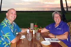 sunset dinner (BarryFackler) Tags: ocean trees sunset sea sky flower water grass weather clouds dinner palms pepper outdoors island hawaii polynesia restaurant coast seaside candle sundown pacific napkin horizon hurricane salt lawn knife fork spoon betty seawall palmtrees pacificocean tropical dining bigisland anthurium placesetting kona tropicalstorm kailuakona 2014 konainn konacoast hawaiicounty hawaiiisland northkona konainnrestaurant bettybowen barryfackler bettyfackler hurricaneana tropicalstormana