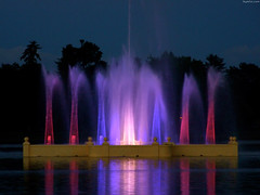 """Prismatic Electric Fountain in Ferril Lake in red and indigo • <a style=""""font-size:0.8em;"""" href=""""http://www.flickr.com/photos/34843984@N07/15545783522/"""" target=""""_blank"""">View on Flickr</a>"""
