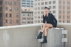 Caitlin (Kwalker_Photography) Tags: urban woman rooftop leather fashion canon model boots 85mm 5dmarkiii