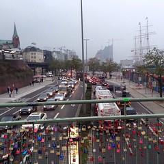 Landungsbrcken (the tomographer) Tags: auto city bridge urban car traffic harbour lock hamburg pedestrian stadt hafen brcke landungsbrcken verkehr vorhngeschloss fusgnger