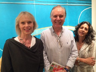Collectors Tina and Raul Fernandez with Alicia Restrepo, of Etra fine art gallery in their new space on NW. 2nd Ave., during the Wynwood gallery openings