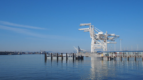 ocean california blue sky horse water port oakland industrial transport sunny olympus cargo cranes shipping jacklondonsquare portofoakland goodweather metalhorse seacontainer olympusem5 olympus17mmf18