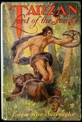 """""""Tarzan, Lord of the Jungle"""" by Edgar Rice Burroughs. Chicago: A. C. McClurg, 1928. First Edition. Art by J. Allen St. John (lhboudreau) Tags: book books hardcover hardcovers hardcoverbook hardcoverbooks bookart fiction fictionnovel fictionstory sciencefiction sciencefictiionnovel sciencefictionstory dustjacket dustjacketart jacketart tarzan tarzanlordofthejungle lordofthejungle burroughs edgarriceburroughs jallenstjohn mcclurg acmcclurg 1928 firstedition forbiddenvalley gorilla illustration drawing illustrations drawings snake apeman reptile ape loincloth"""
