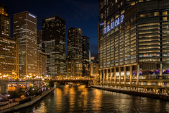 Chicago River and Riverwalk (JB_1984) Tags: usa chicago reflection tower skyscraper river illinois unitedstates dusk il bluehour theloop trumptower chicagoriver trump trumpinternationalhotelandtower