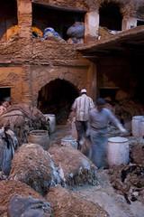 Trabajando en la curtiduría (ramosblancor) Tags: workers skins morocco human fez tribes habitat marruecos tanned trabajadores hides áfrica tribus humanas pieles curtir