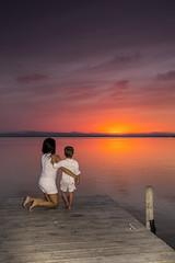 Moments II. (dasanes77) Tags: wood old longexposure sunset seascape love valencia clouds landscape pier child mother son calm dramaticsky backlighting momentsii canonef24105mmf4lisusm canoneos6d albuferaofvalencia