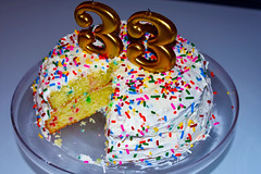 Dogwood Week 6 (StefGCarter) Tags: birthday cake cakes sprinkle sprinkles 33 gold thirtythree three yellow celebrate frosting yum yummy