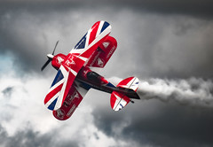 Flying sideways (10000 wishes) Tags: aircraft airdisplay smoke areonautics stormclouds farnborough