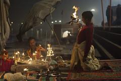 The apprentice (Feca Luca) Tags: street reportage children bimbi ritual religion religione hindu puja night notturno people india varanasi asia nikon