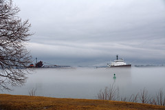 Ore Freighter in Fog on St. Mary's River - Herbert C. Jackson - Sault Sainte Marie - Michigan (Mikel Classen) Tags: orefreighter herbertcjackson stmarysriver saultstemarie upperpeninsula michigan chippewacounty
