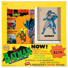 1966 Batman Golden Records boxed set with needlecraft (Tom Simpson) Tags: batman robin comics illustration vintage 1966 1960s needlepoint