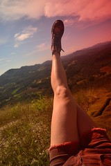 chilling in the mountains (Leticia Manosso) Tags: mountain hiking boots sunny morro do cal blue sky campo largo parana curitiba countryside girl blonde doctor martens