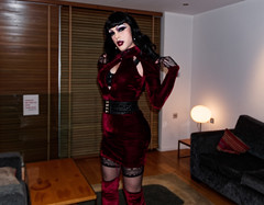 Gothic diva in red velvet (Juliapanther Over 56 million views, thanks!!!) Tags: julia panther juliapanther red velvet dress boots thigh high heels velour model posing goth gothic pinup tgirl tg belt leather dressing makeup lips burgundy hot sexy blonde nylon stockings people bettie page goddess