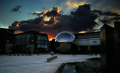 Sphere (Owen J Fitzpatrick) Tags: ojf people photography nikon fitzpatrick owen j joe pavement chasing ireland editorial use only ojfitzpatrick eire dublin republic city tamron bristol uk england united kingdom blighty avon somerset english millennium sphere reflect reflective sunset sky cloud cumulus buildingslandmarks square sundown