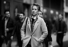 (graveur8x) Tags: woman candid street portrait frankfurt germany deutschland streetphotography strase blackandwhite monochrome eyecontact schwarzweis dof people look work canon canoneos6d 6d canonef135mmf2lusm 135mm f2