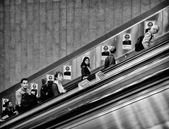 Heads (phil anker) Tags: people street london underground escalator mono tube fujix70