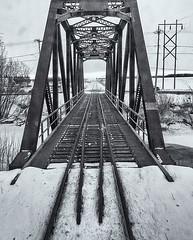 Winterscape 2017 # 57 ... ; (c)rebfoto (rebfoto) Tags: railway railwaytrack winterscene winterscape wintersnow rebfoto blackandwhite bw tracks railwaytracks railtracks railwaybridge bridge