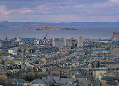 Inchkeith Island (Rollingstone1) Tags: inchkeithisland leith edinburgh kinghorn fife firthofforth rooftops sky skyline landscape city docks cranes water sea island buildings clouds scenery history scotland
