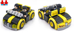 5-Stud-wide Two-seater? (Unijob Lindo) Tags: lego car cars leg godt klocki sports hood windshield bricks brick slope slopes curved minifig fig figure minifigures minifigs robin black yellow tires tyres vehicle vehicles 5stud wide five studs 2seater two seater seats bumper mudguard mudguards experiment wheel wheels stripe headlights speed