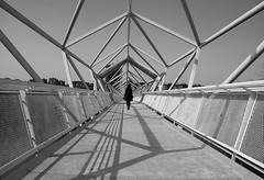 (cherco) Tags: bridge puente mujer woman lonely solitary geometry geometric lines perspectiva perspective pentagono blackandwhite blancoynegro city composition composicion ciudad urban urbano shadows silhouette silueta sombra street calle pue