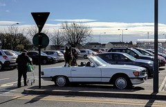 Whose car is it? (Brian Travelling) Tags: alsatian germanshepherd dog guarddog furry fluffy classic car mercedes convertable convertible pentax
