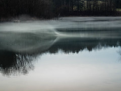 rolling fog (PenelopeEfstop) Tags: mist wave pond lonely aircurrent mysterious landscape