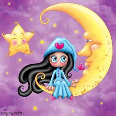 Au clair de la Lune by Myria-Moon .. (Myria-Moon) Tags: myriamoon aimemoi cute chibi anime kawaii moon colorful coloré children illustrationenfantine mignon