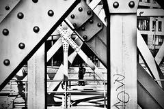 compact and robust design. (HansEckart) Tags: sw blackandwhite stahlträger perspektive sichten geometrie nieten bauwerk konstruktion brücke stahl urban hamburg hafencity street