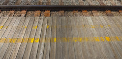 all points lead to... other points (mfm2010) Tags: metcalfeimages peninsula traintrack platform trainstation yellowline repeatingpatterns minimalism fantasia surrealism