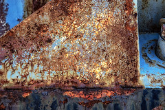A Study in Rust (Jae at Wits End) Tags: texture abstract rust blue color decay peeling metal corroded corrosion cracked line lines old oxidation oxidized paint patina pattern rusty shape shapes textured weathered