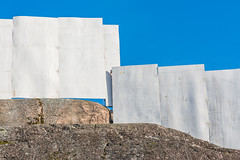 Blue, White And Stone (pni) Tags: white fence plywood rock sky fraction bollis helsinki helsingfors finland suomi pekkanikrus skrubu pni