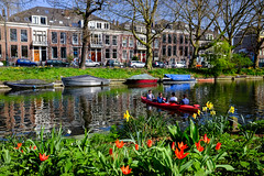 Canoe @ Utrecht (PaulHoo) Tags: utrecht water canal gracht city urban fujifilm fuji x70 color flora building architecture cityview spring tulip narcissus 2017 cityscape holland netherlands