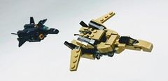 Lego YF-19 and YF-21 from Macross Plus (funnystuffs) Tags: lego macross yf19 yf21 valkyrie plus isamu dyson fully transformable moc mecha delta variable fighter gerwalk battroid