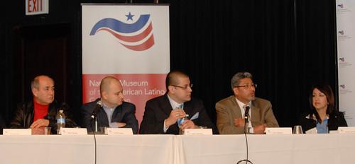 Chicago Public Forum panelists Pepe Vargas, Omar Duque, Mark Aguilera, Juan Salgado, Arabel Alva Rosales
