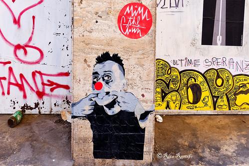 Roma. Trastevere. Street art by Mimi the Clown, Zoto