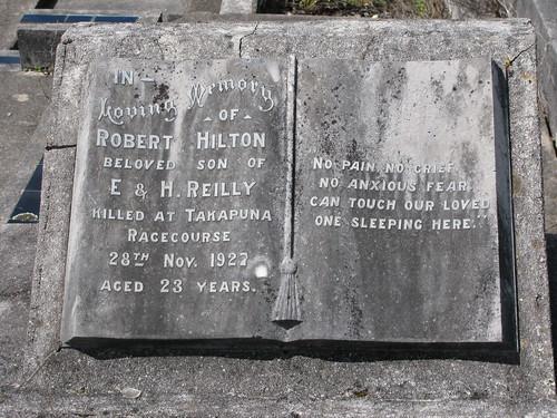 Robert Hilton REILLY, young jockey accidentally killed
